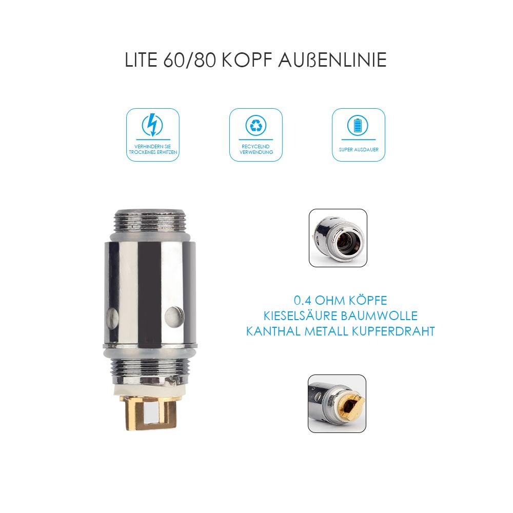 Jomotech 10x Silber Lite 60/80W/Neu65W/100W 0,4ohm E-Shisha ...