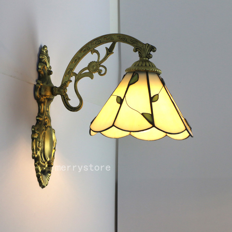 2x tiffany style glass lamp shade wall sconce lotus pattern e27 led 2x tiffany style glass lamp shade wall sconce lotus pattern e27 led wall light aloadofball Image collections