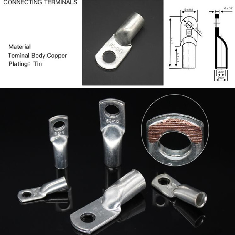 20PCS Pure Copper Battery Cable Ends Lugs Tin Plated  Ring Terminals Connectors