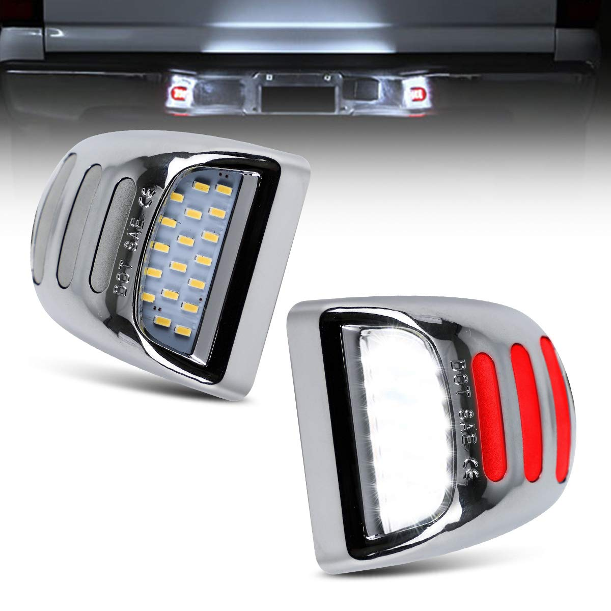 Silve Led License Plate Lights For Chevy Silverado Gmc