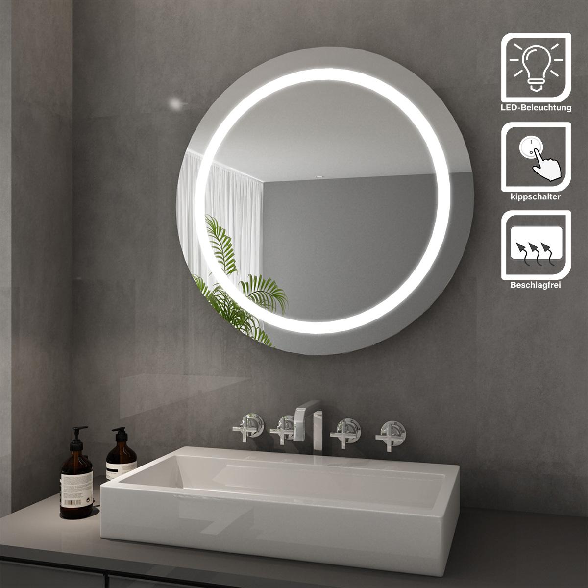 Details Zu Led Rund Badspiegel Badezimmer Lichtspiegel Rund Wandspiegel Mit Beleuchtung