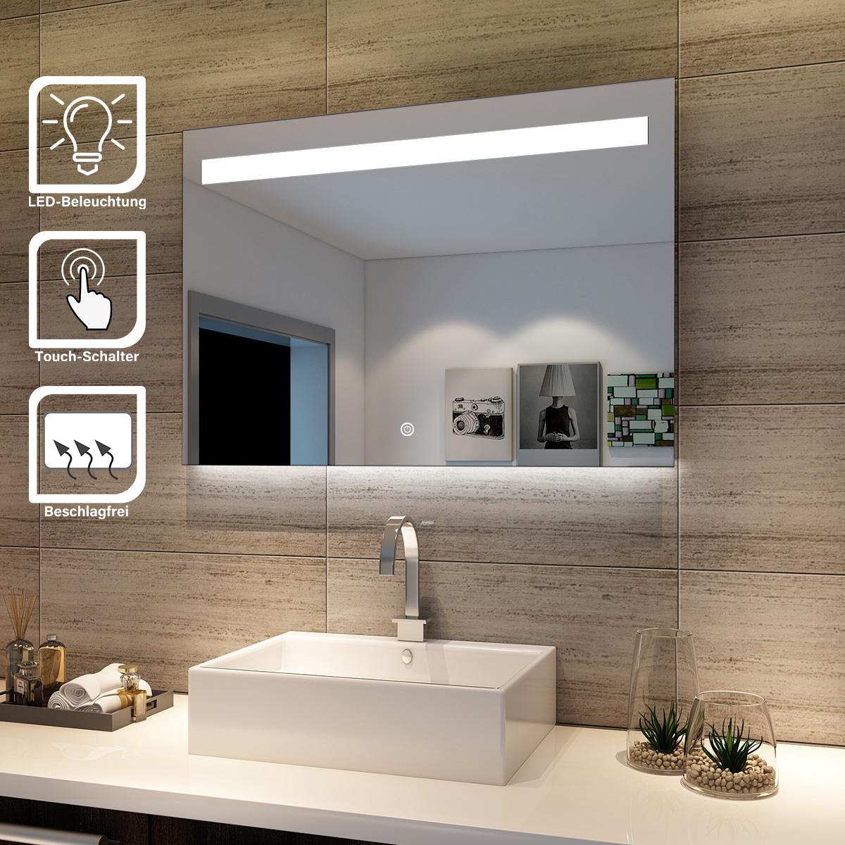 Details zu LED bad spiegel für Badezimmer mit Beleuchtung Touchschalter  Badspiegel kaltweiß