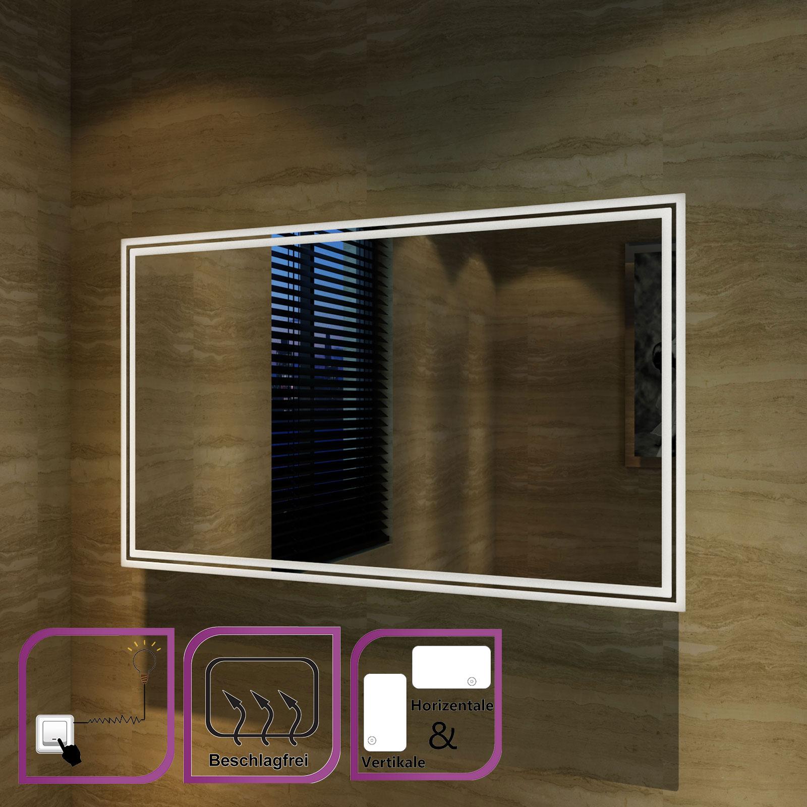 LED BAD SPIEGEL mit Beleuchtung für Badezimmer Badspiegel Horizontal ...