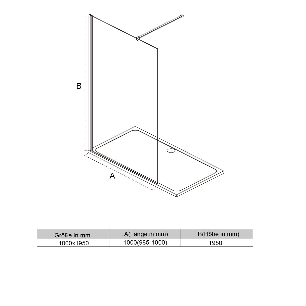 8mm walk in duschkabine 100cm sicherheitsglas nano. Black Bedroom Furniture Sets. Home Design Ideas