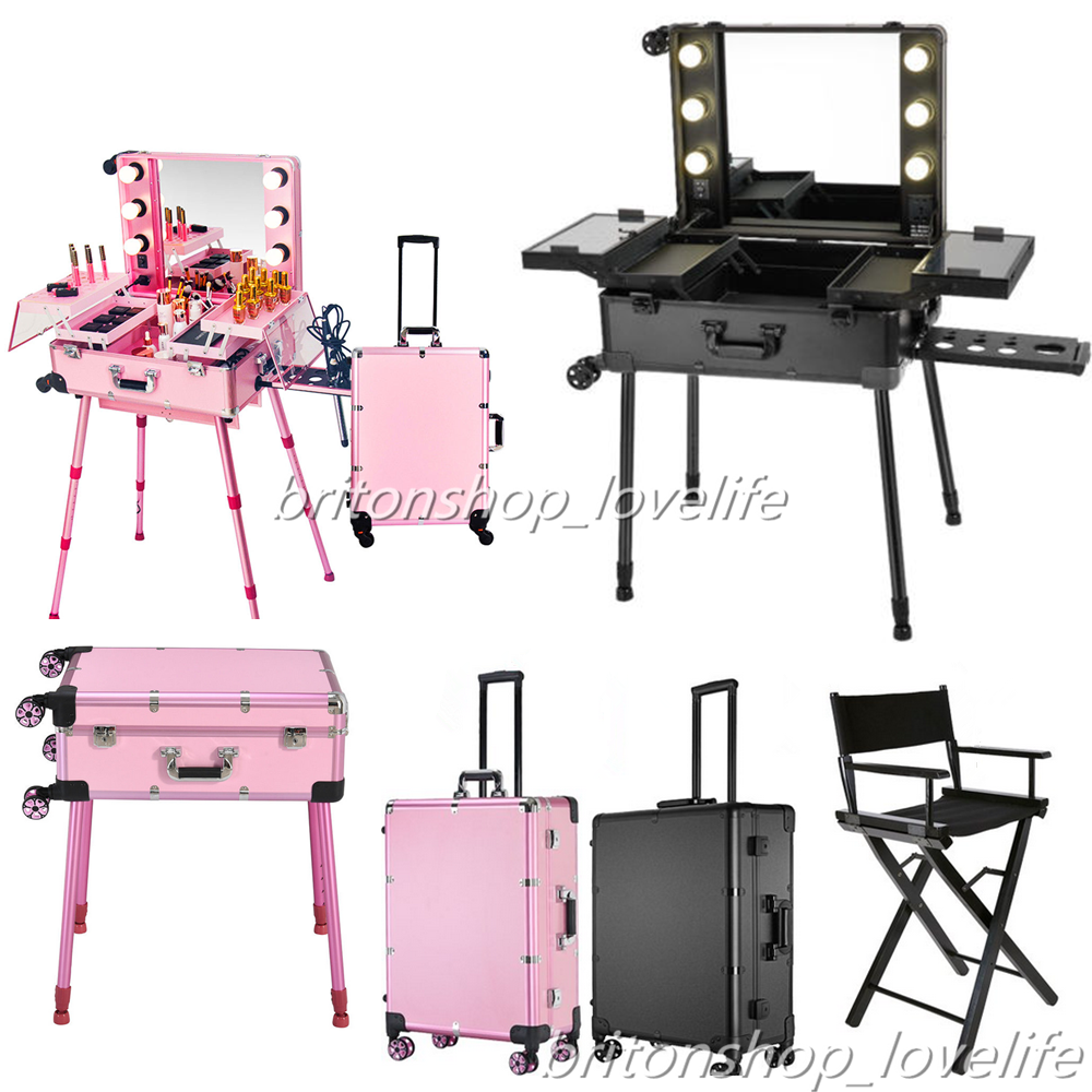 Portable Makeup Station W Mirror Pro Rolling Case Table Artists Chair Uk