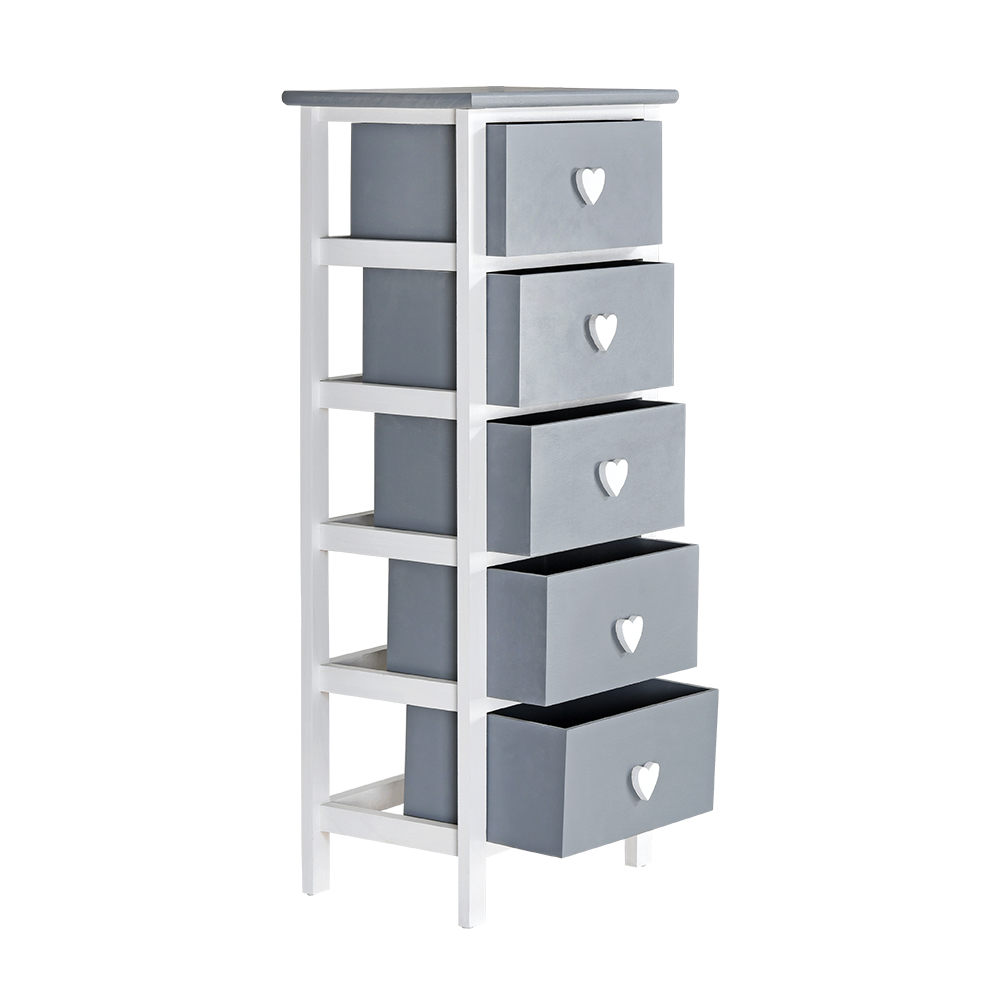 White & Grey Wooden Cabinet Chest Of 5 Drawers Girls ...