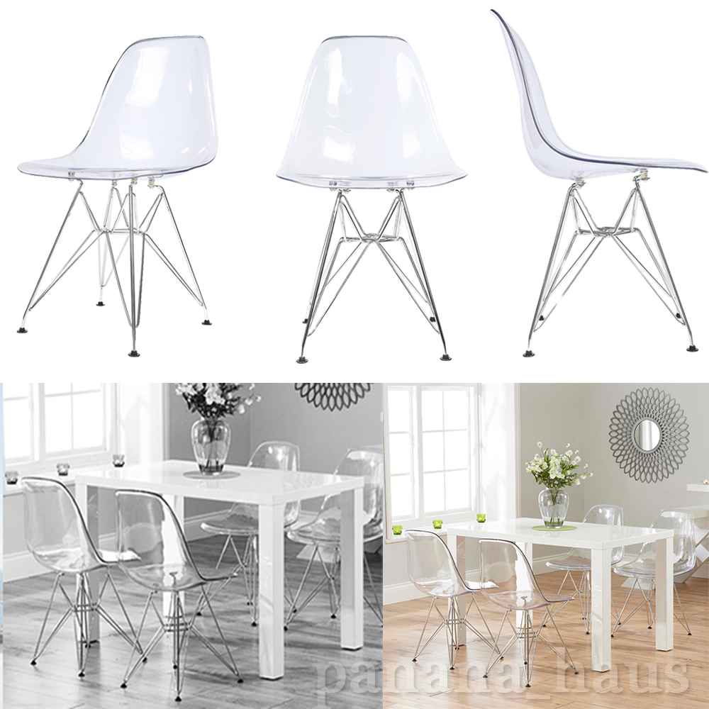 Clear Ghost Chair Eiffel Style Transparent DSR Steel Legs Chairs Kitchen  Home