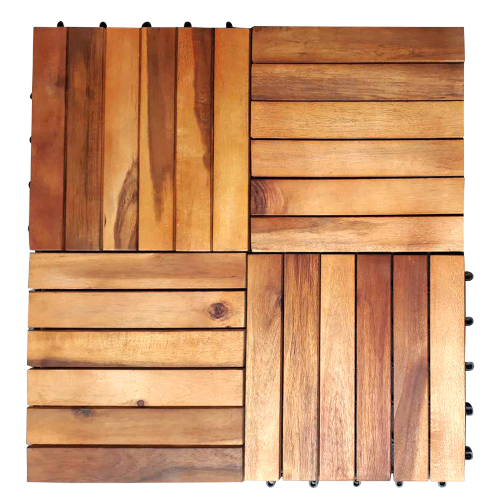 Details About Acacia Wood Decking Tiles Interlocking Wooden Garden Patio Connect Deck Boards