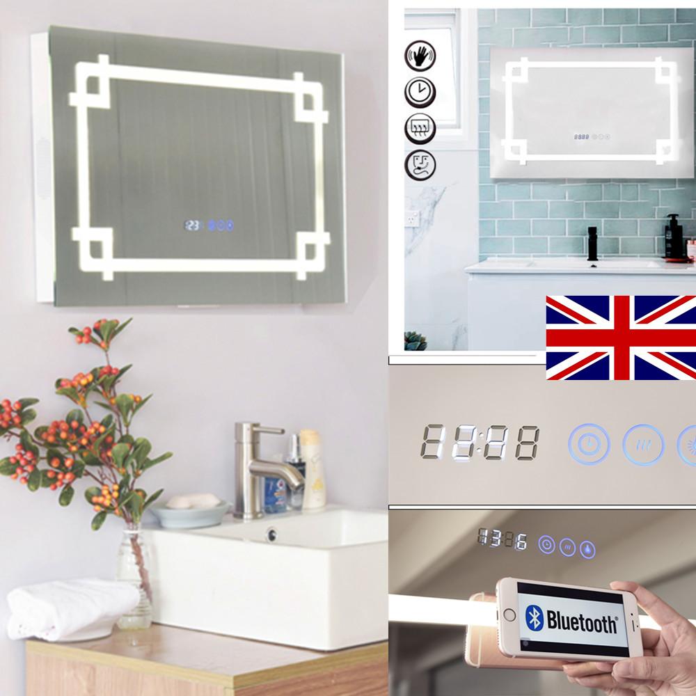 LED Illuminated Bathroom Mirror Audio Bluetooth DEMISTER SHAVER IR ...