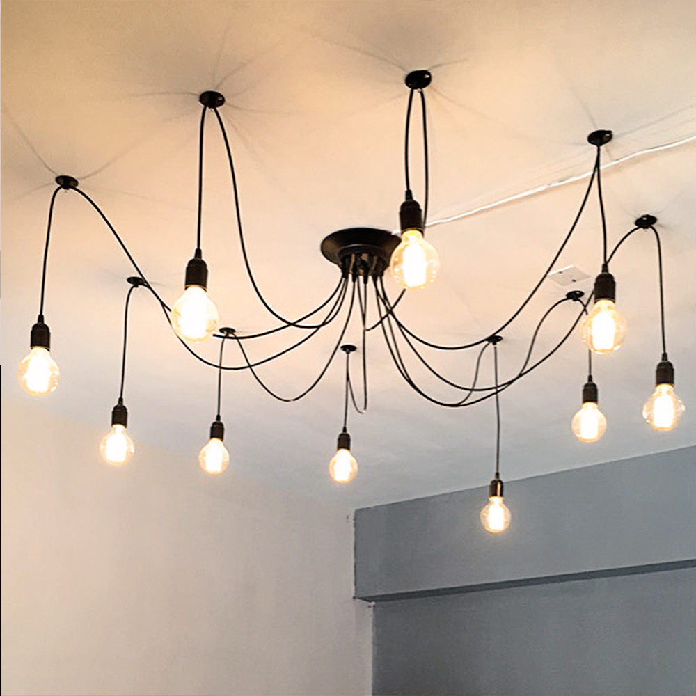 Current Obsession Lantern Chandeliers: 6 8 10 Fabric Cord Arm Spider Light Pendant Black