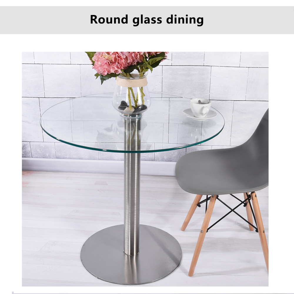 80CM Clear Round Top Glass Table Circular Glass Dining/Kitchen Table ...