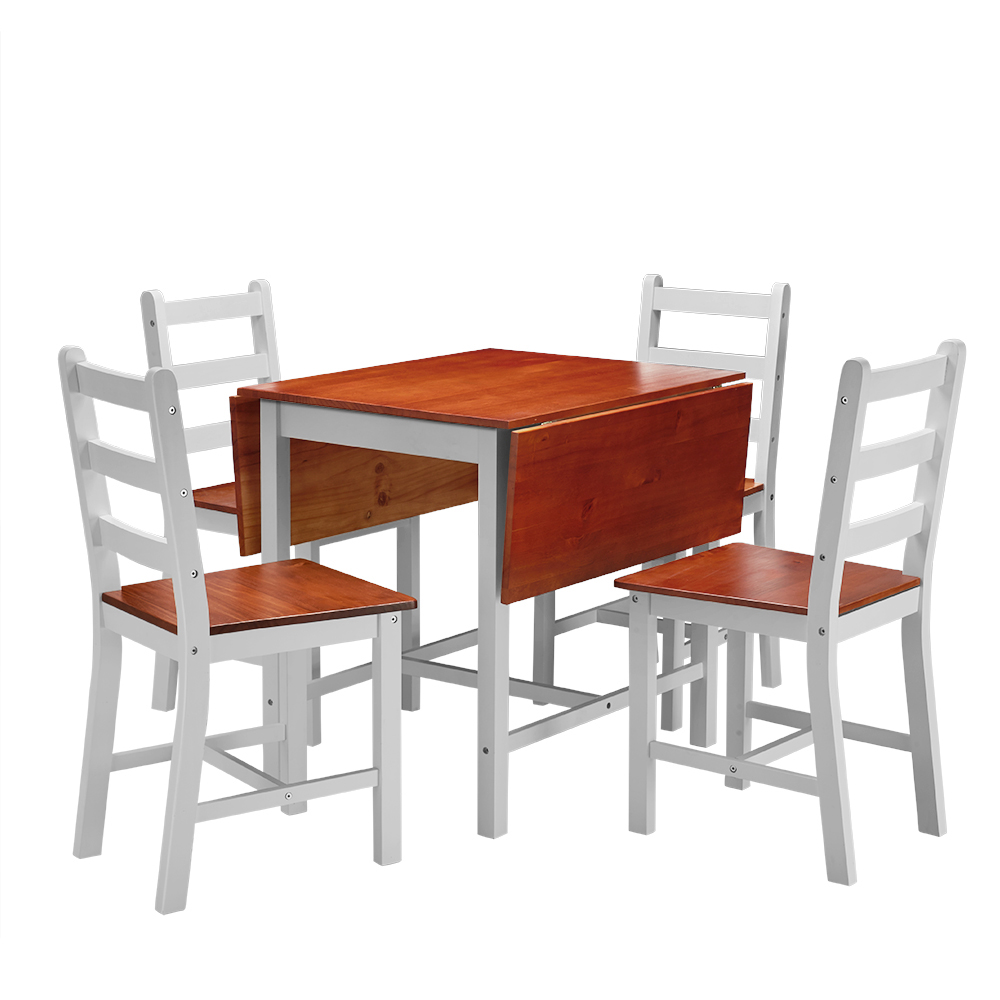Solid Wood Kitchen Table With Bench: Dropleaf Dining Table With 4 Chairs Dining Set Solid