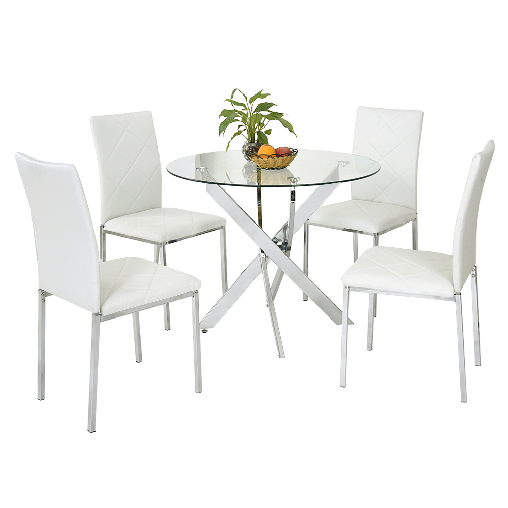 Modern glass round dining table set and 4 faux leather chairs chrome legs