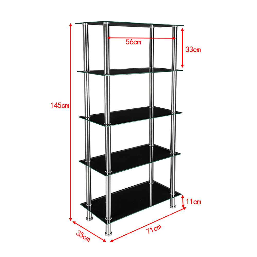 145CM 5 Tier Glass Side Table Display Shelf Unit Lounge