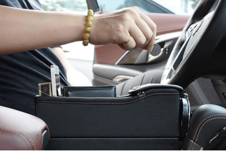 Left Side Catch Catcher Box Car Seat Gap Slit Pocket Storage Organizer Coin