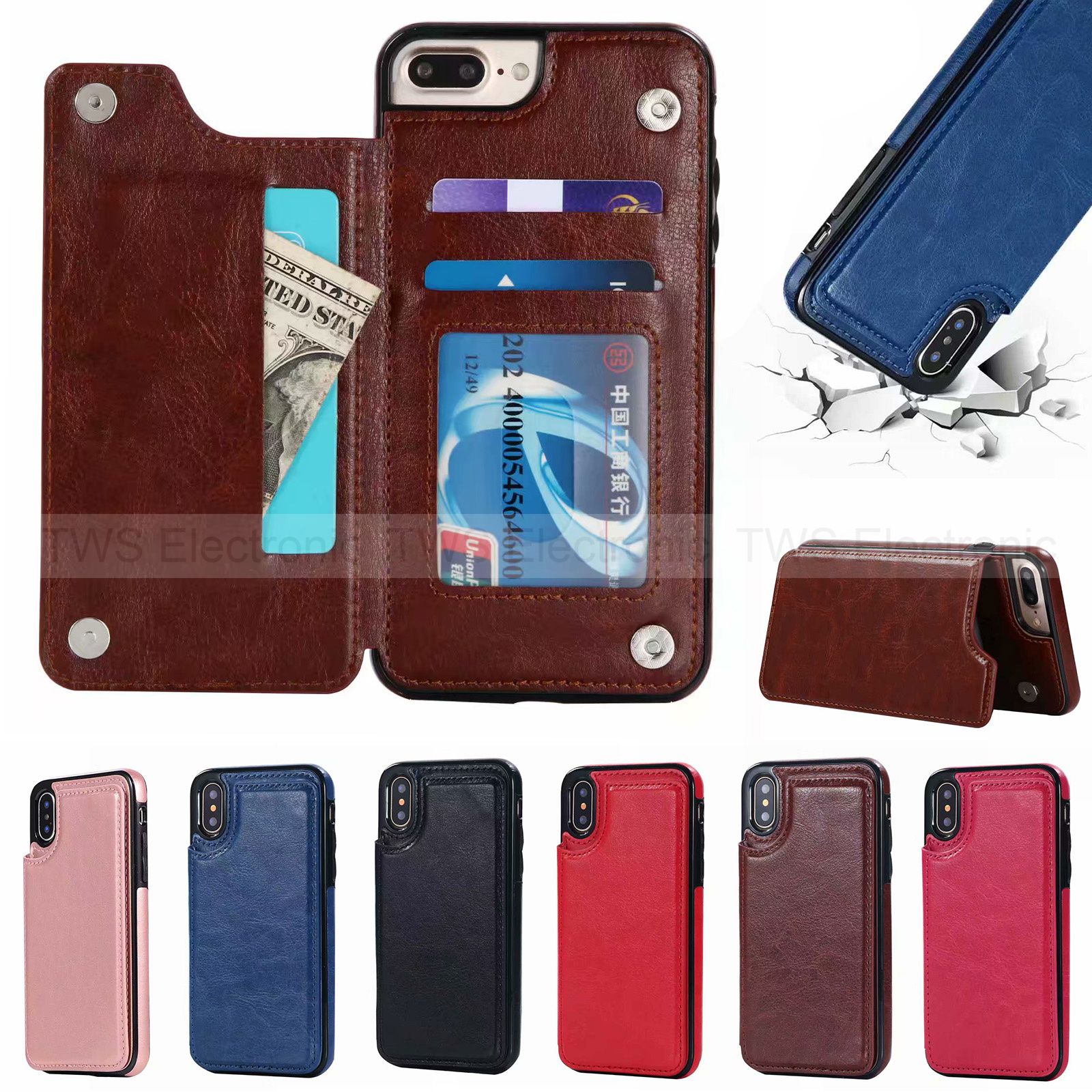 separation shoes 4d587 a9d49 Details about Magnetic Leather Wallet Case Card Slot Shockproof Flip Cover  for iPhone XS MAX 7