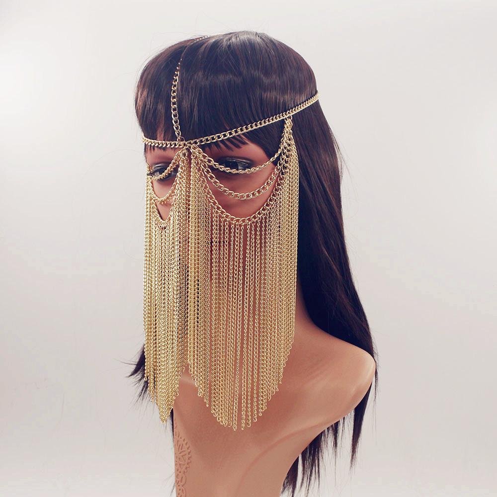 Hand Made Metal Chain Fringe Face Veil Mask Face Mask Costume Veil Masks
