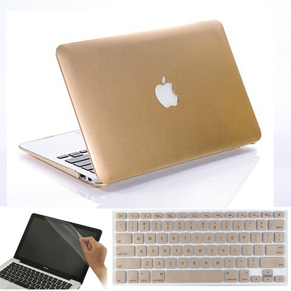"""3in1 ROSE GOLD Matellic Glossy Shiny Case for MacBook AIR PRO 11/"""" 13/"""" 15/""""+Retina"""