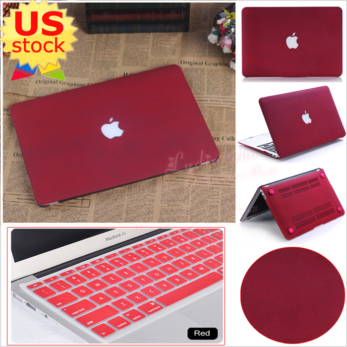 a29fce2977a Details about 2in1 Wine Red Quicksand Matt Hard Case Cover for MacBook Pro  13