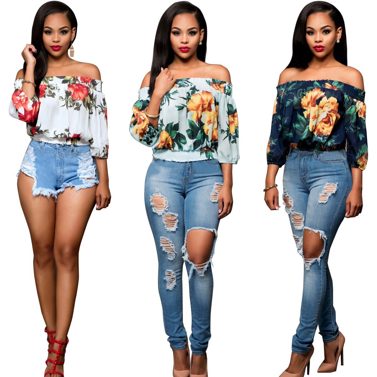 cf0751ed8283aa Details about Spring Summer 2018 Fashion Women Off-the-shoulder Loose  Floral Print Top Blouses