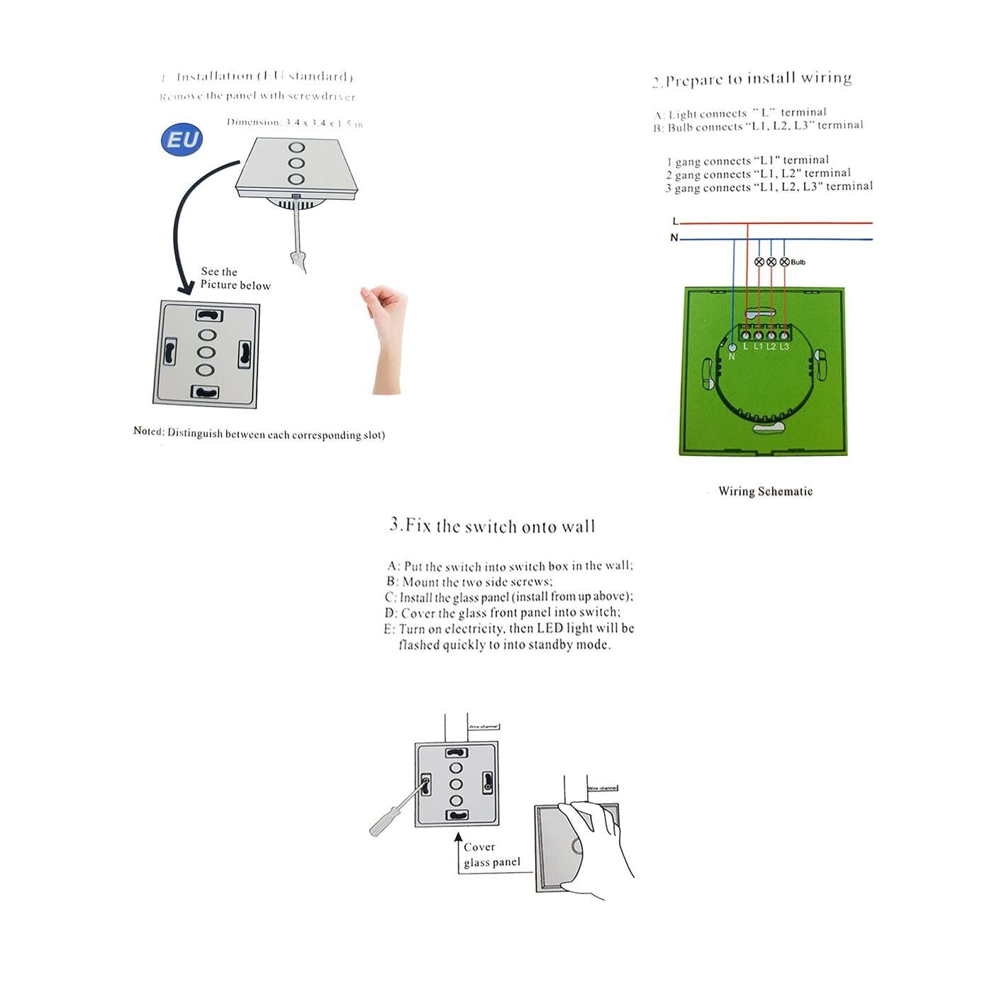4X Smart WiFi Lichtschalter Timer Touch Wandschalter Panel Fur ...