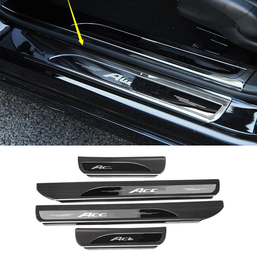 Fits Honda Accord 2013-2017 Stainless Door Sill Scuff Plate Cover Inside Silver