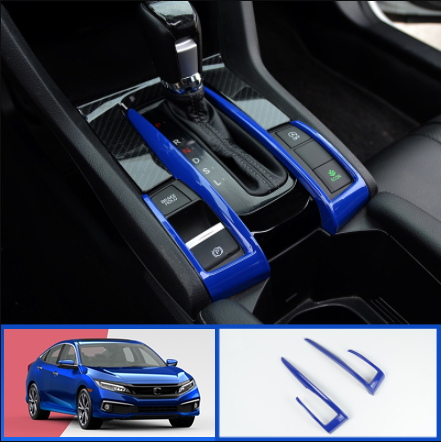 ABS Blue Interior Console Displays Bottom Trim Strip For Honda CIVIC 2016-2020