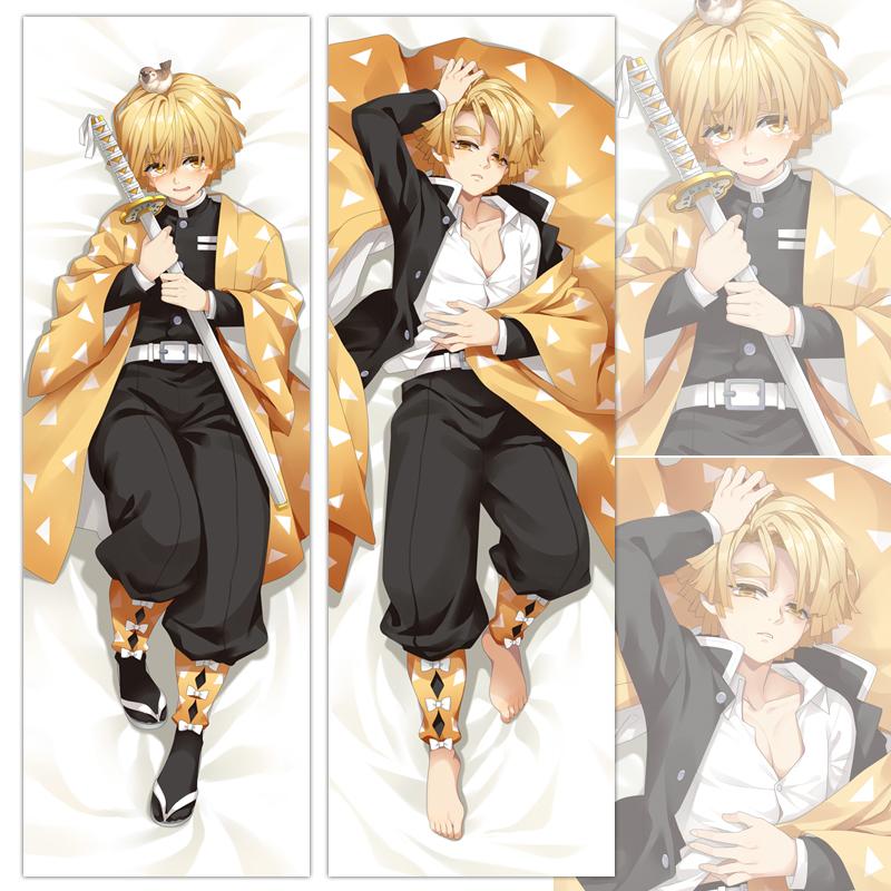 Anime Dakimakura Demon Slayer Agatsuma Zenitsu Hug Body Pillow Cover Case 100cm