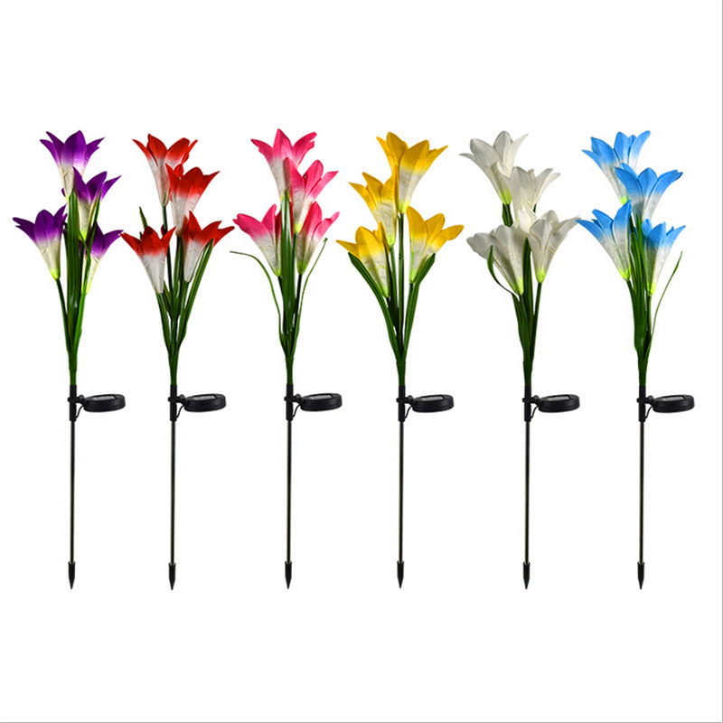 Solar Powered Outdoor LED Lily Stake Flower Light Patio Lawn Garden Yard A9E2