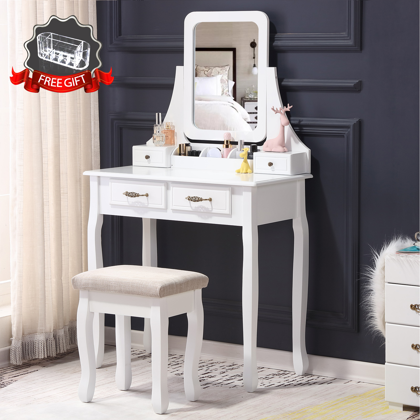 details about makeup vanity dressing table w/stool 4 drawers&mirror jewelry  wood desk white