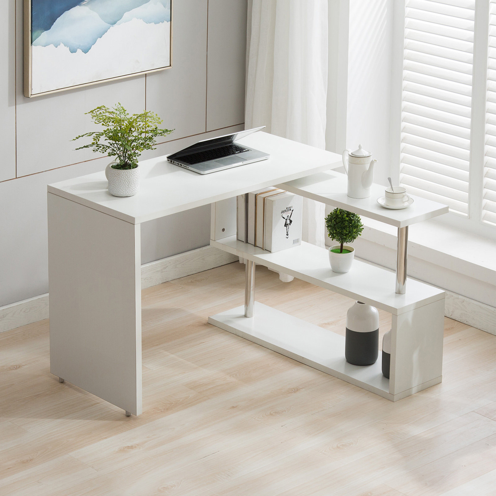 White L-Shaped Rotating Table W/Storage Space Corner ...
