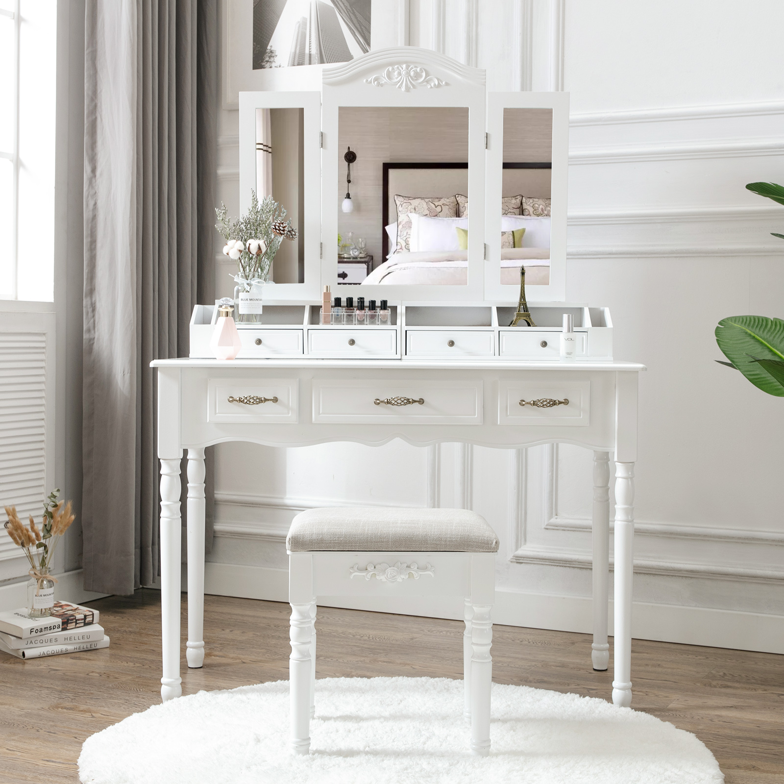 Outstanding Details About Vanity Makeup Dressing Table Set Folding Mirror Desk Dresser W Stool Wood White Squirreltailoven Fun Painted Chair Ideas Images Squirreltailovenorg