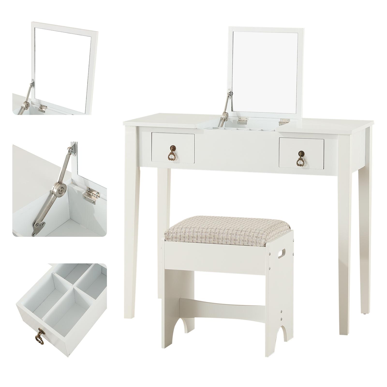 Vanity Makeup Dressing Table Set W Stool Flip Top Mirror 2