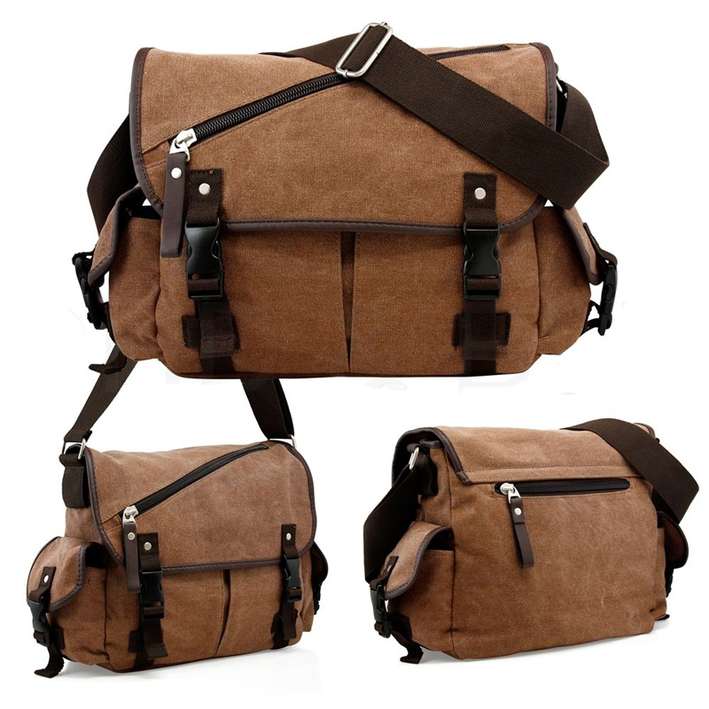 0d9f5708a Men's Vintage Messenger Bag Shoulder Bag Crossbody School Satchel Canvas  Leather