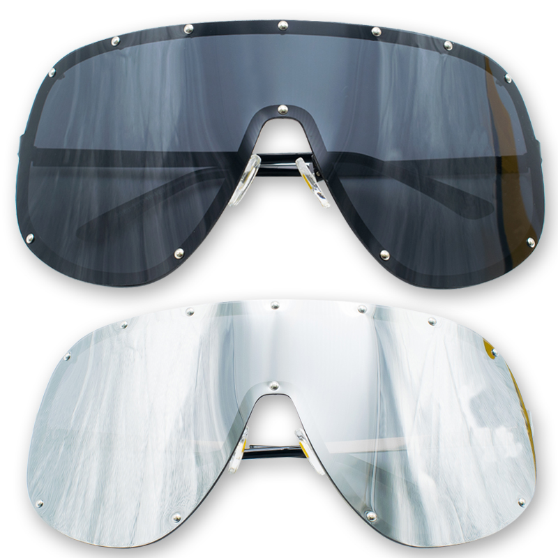 OVERSIZED Huge Big MASK SHIELD Half Face Owen Polarized Large MIRROR Sunglasses