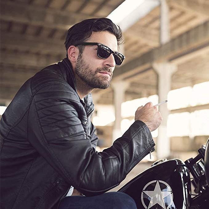 POLARIZED Sunglasses Shades fashion retro vintage style black frame A