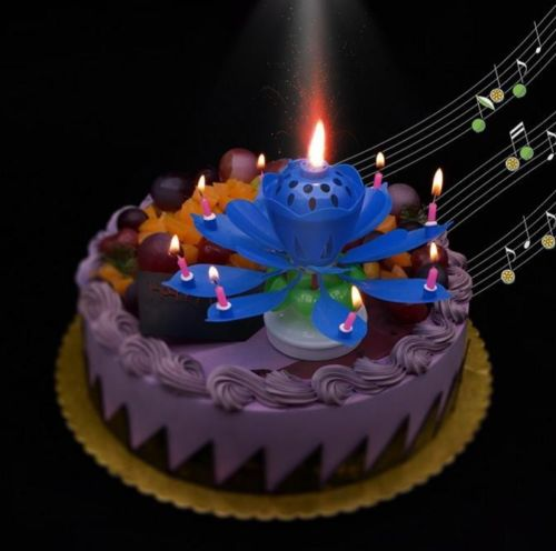 4x Music Party Surprised Birthday Candle Magic Lotus Flower Spin 8 Small Candles