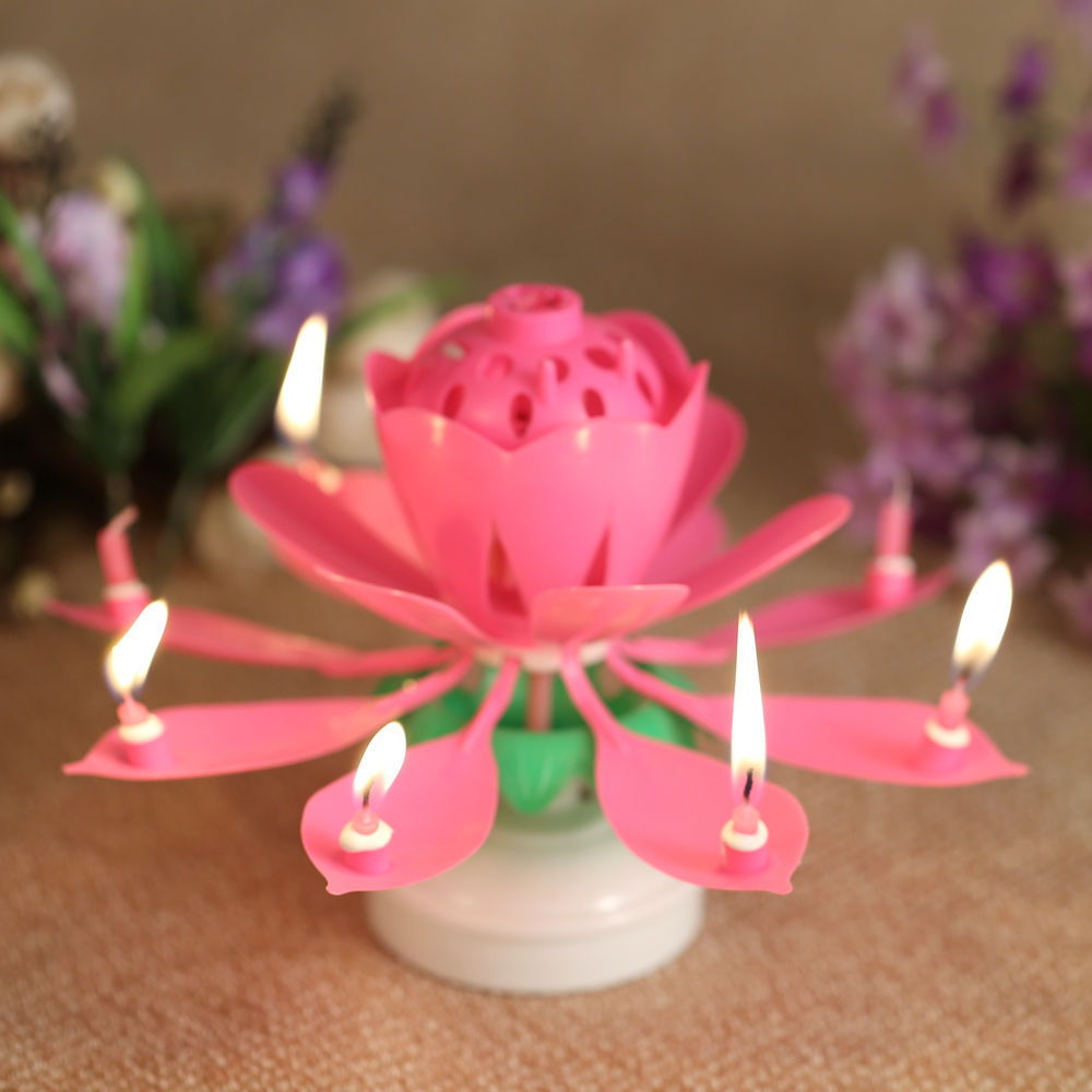 Sinfore 1pcs Amazing Two Layers With 14 Small Candles Lotus Hy