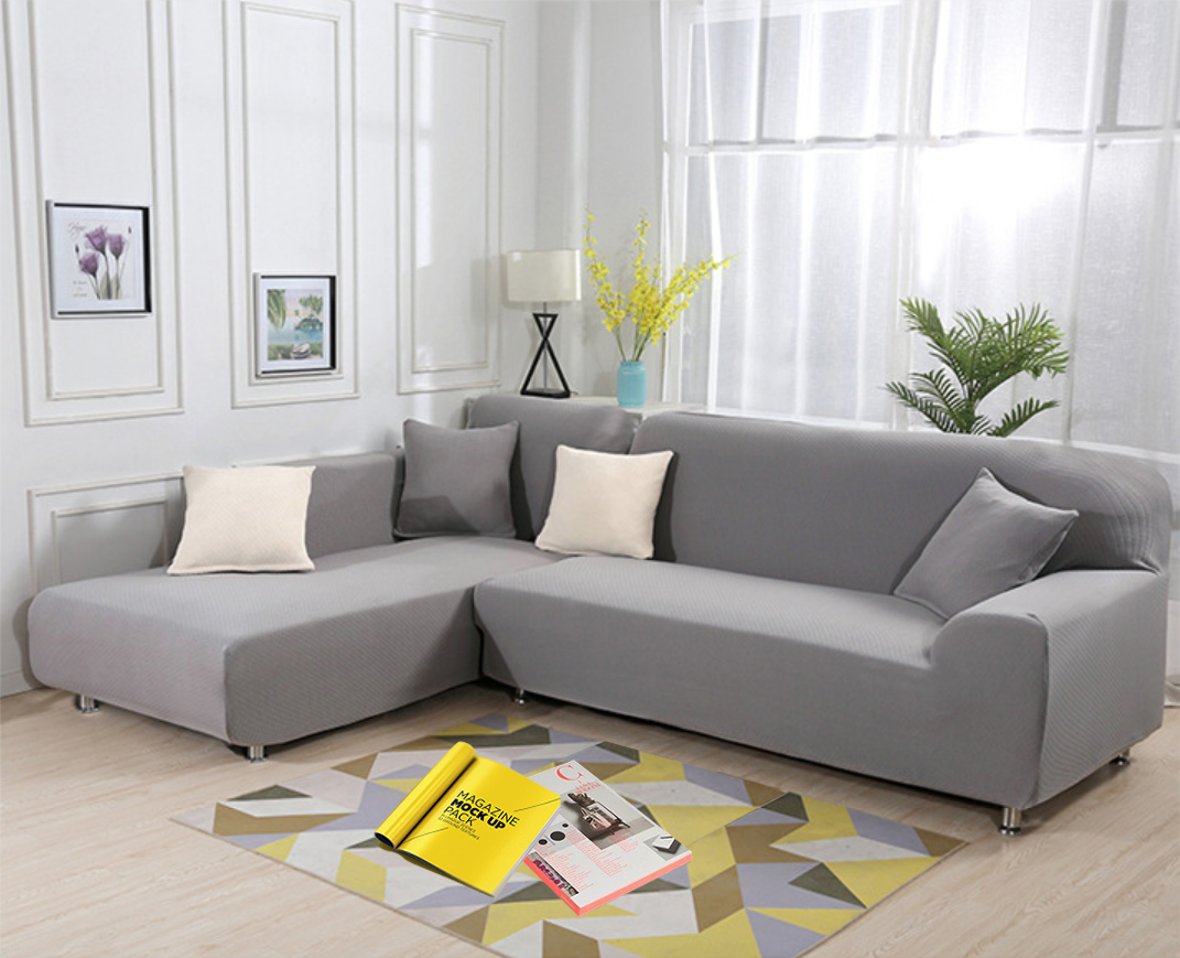 Details about 2PC L Shape Stretch Elastic Fabric Sofa Cover Slipcovers  Corner Couch Covers set