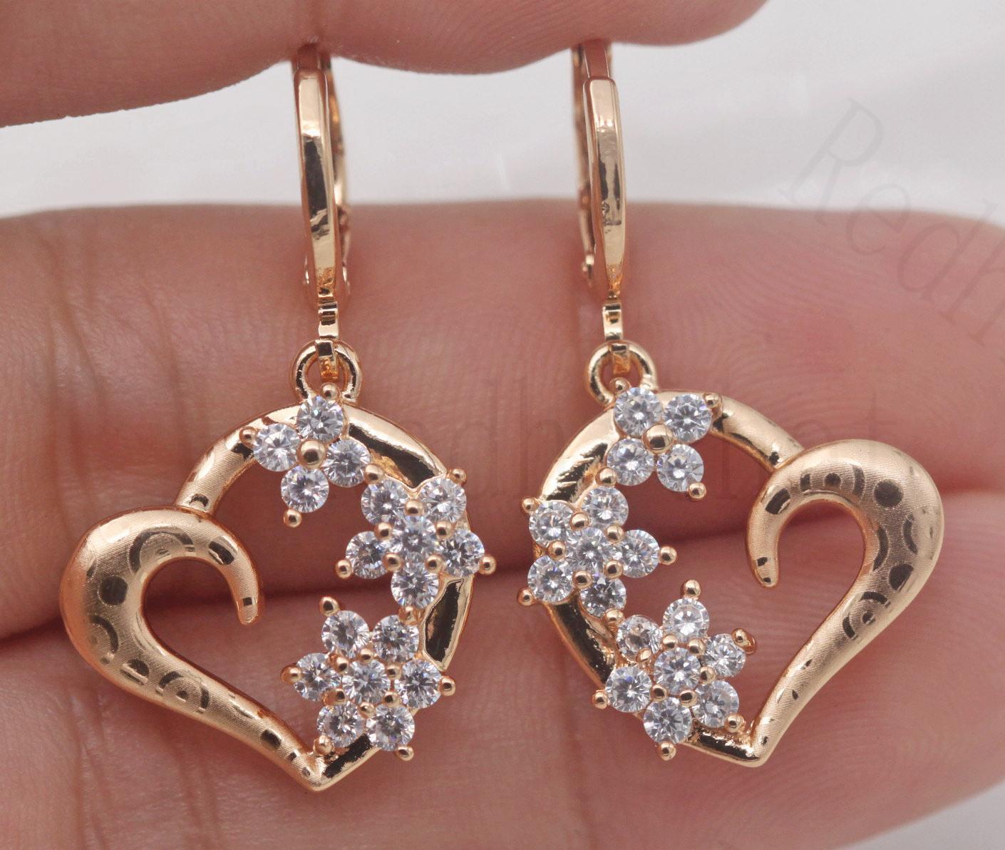 "18K Gold Filled 1.4/"" Laser Carved Flower Topaz Hollow Rhombus Lady Earrings"