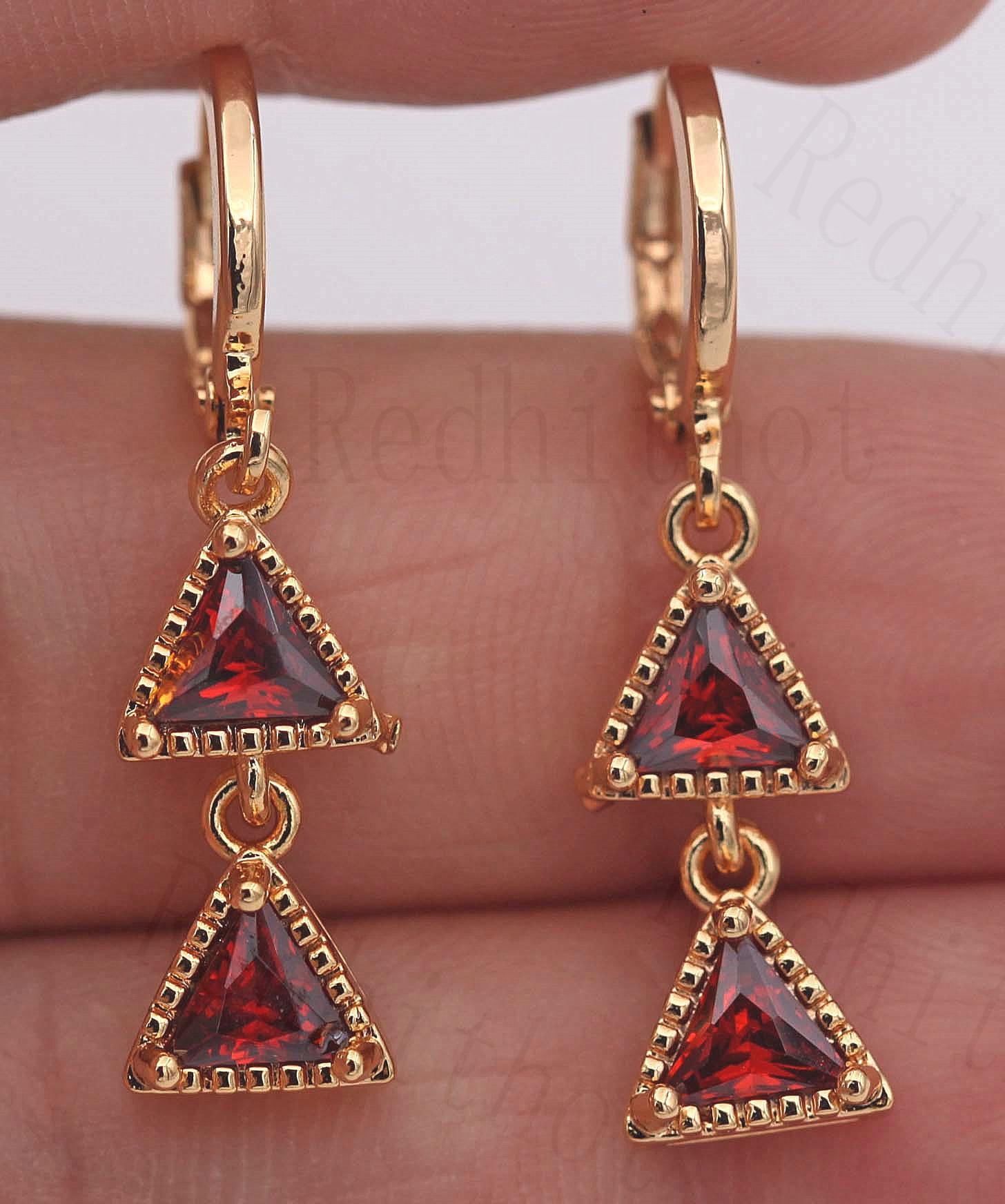 18K Gold Filled Earrings Ruby Zircon Stars Bright Gemstone Ear Stud Drop Pageant