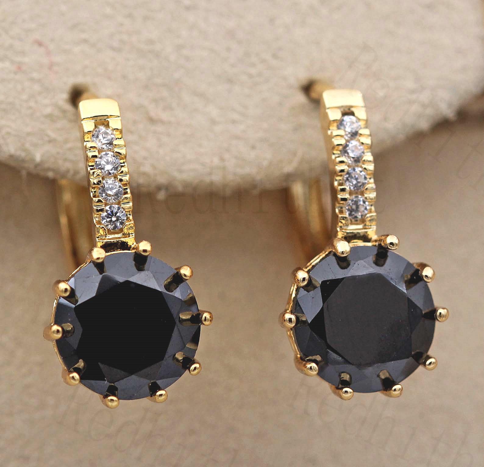 9 mm Round Black Onyx fleur Topaz Zircon Hoop Femmes Boucles D/'oreilles BR 18K Gold filled
