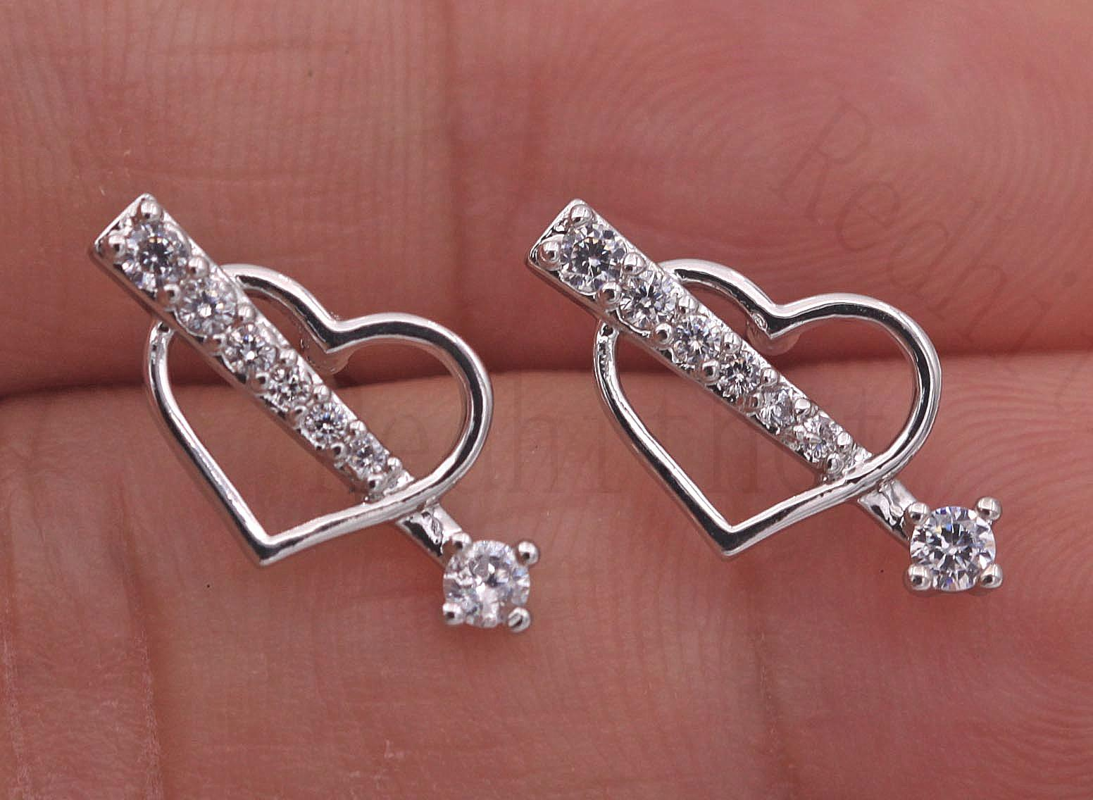 Details About 18k White Gold Filled Earrings Topaz Arrow Through Heart Gems Ear Stud Pageant
