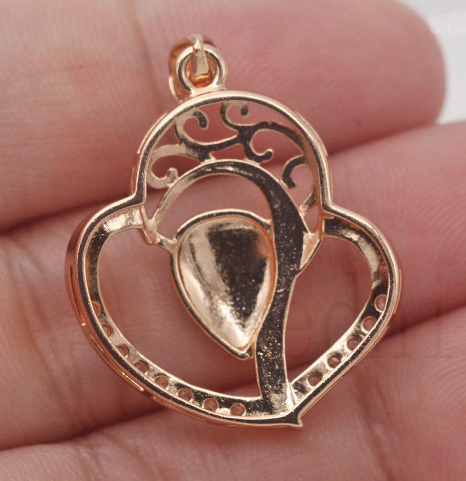 18K Gold Filled Hollow Branch Swirl Teardrop Zircon Lady Laser Carved Pendant