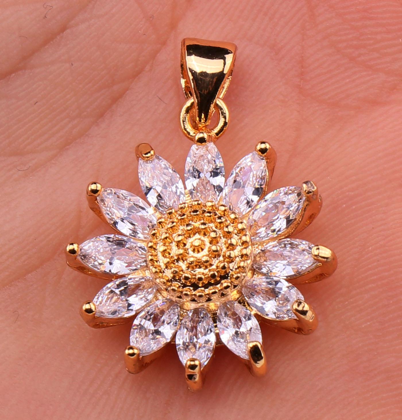 18K Gold Filled 3D SunFlower Cat Eye Clear Topaz Zircon Party Gemstone Pendant Fashion Jewelry