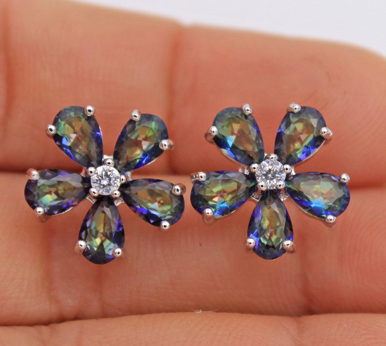 18K White Gold Filled Clover Flower MYSTICAL Rainbow Topaz Prom Women Earrings