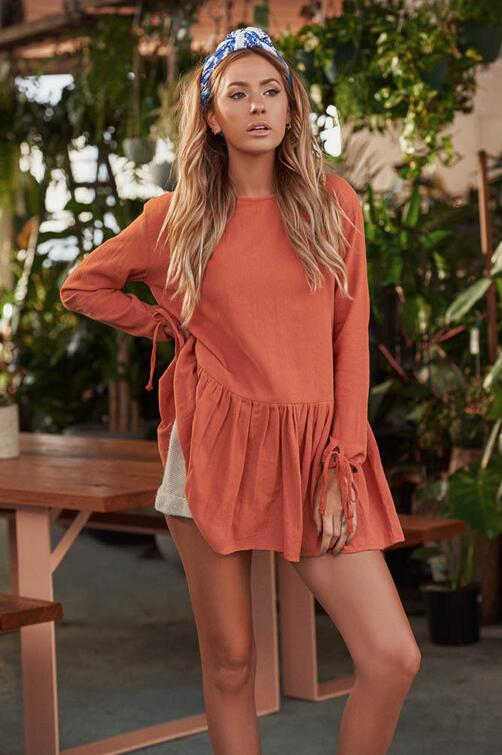 Fashion-Women-Crew-Neck-Long-Sleeve-Cotton-Linen-Pleated-Loose-Mini-Dress-Kaftan