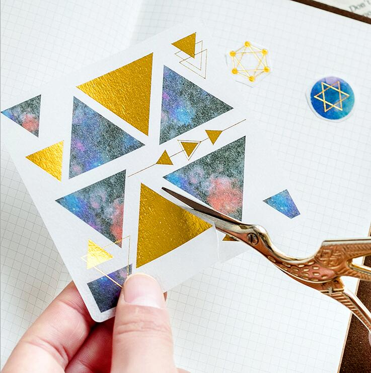 GloryMM Twelve Constellation Bronzing Stickers Magic Array Bronze Decoration and Paper Tape Craft Scrapbooking Decals,Hot Silver
