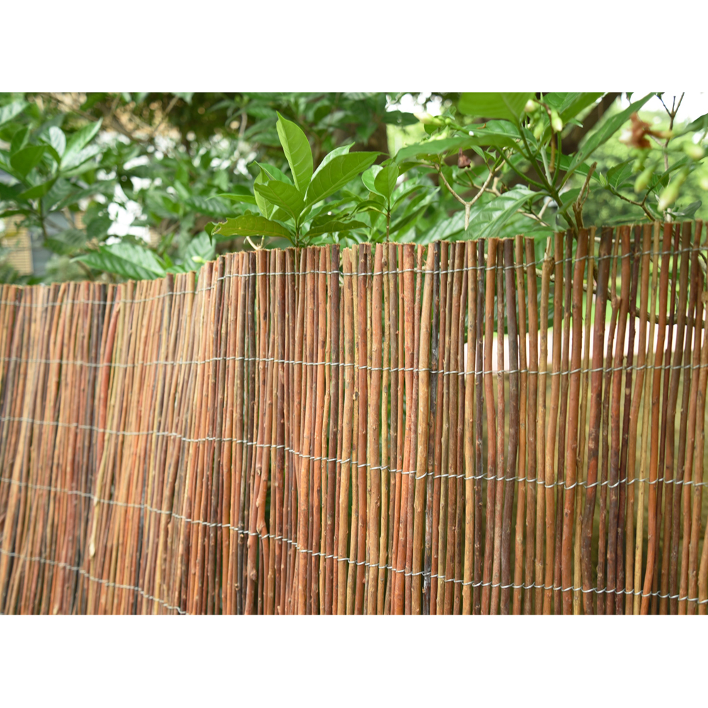 Wooden garden fence panels willow fence screening panels long 4m x 4m long garden screen willow wooden screening roll fencing panel fence outdoor baanklon Choice Image