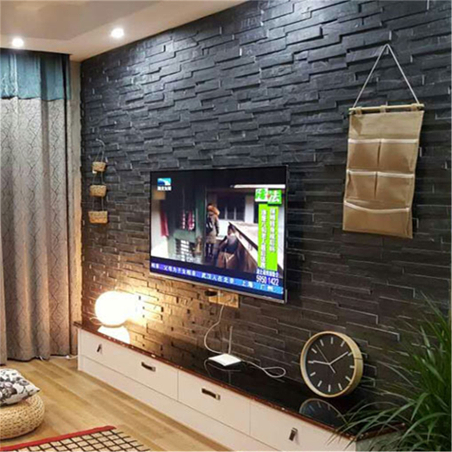 Black Slate Split Face Cladding Mosaic Tiles For Walls